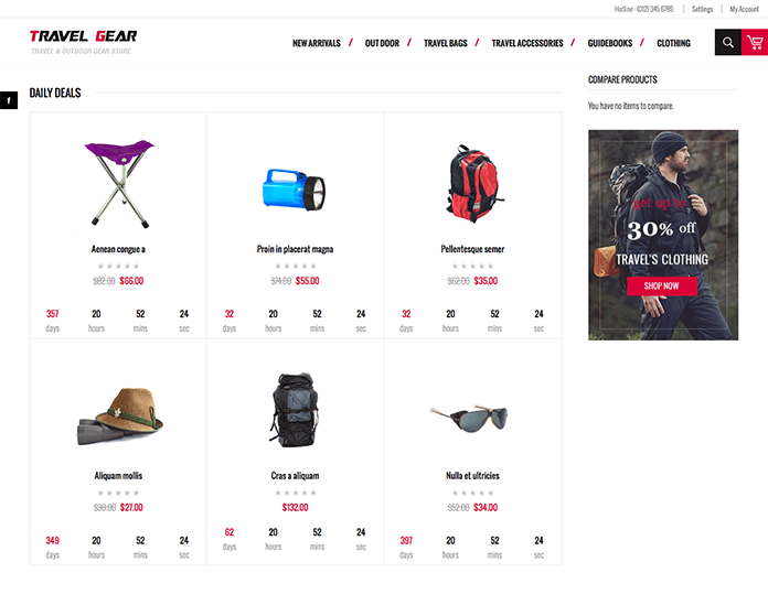 Magento extension ProductDeal in Responsive Magento theme TravelGear