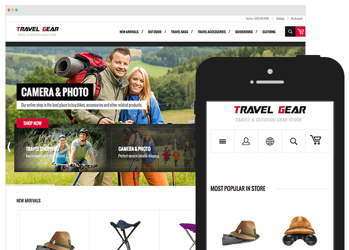 Responsive web design for Responsive Magento theme TravelGear