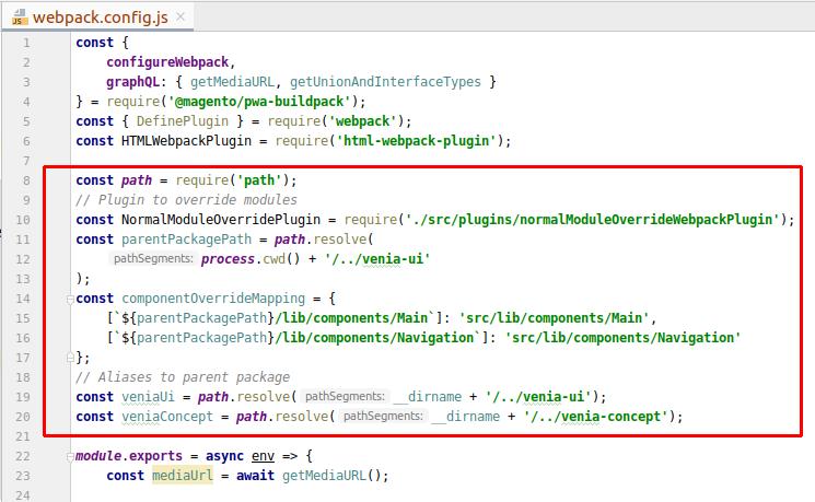 Set up PWA Mega Menu tutorial - The webpack.config.js file
