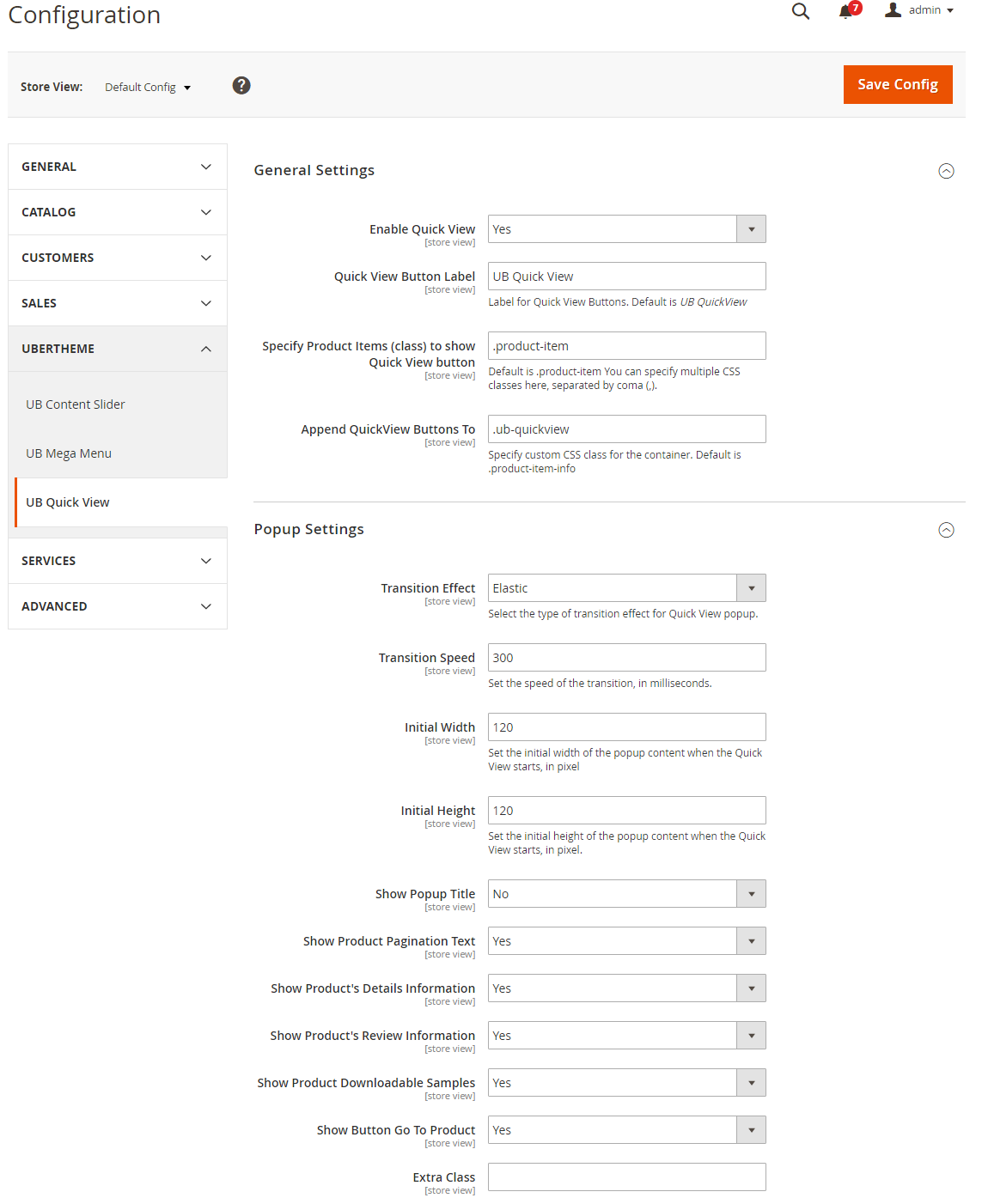 Ub sportsgear for magento 2 ubertheme ubertheme in the magento admin panel navigate to content ub quick view setting and configure the default settings as the asfbconference2016 Choice Image