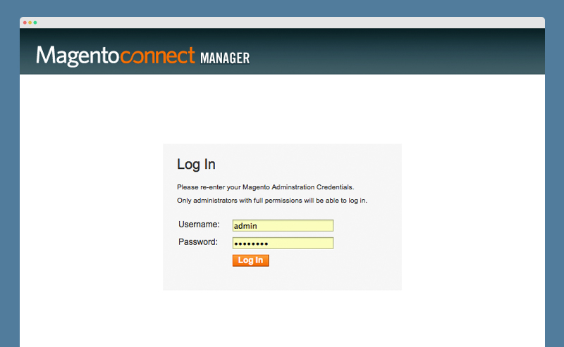 Magento Connect Manager Login