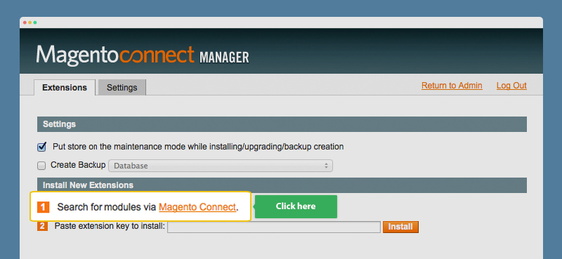 Shortcut to Magento Connect