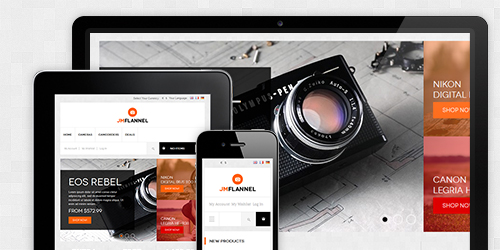 Responsive Magento theme Flannel feature