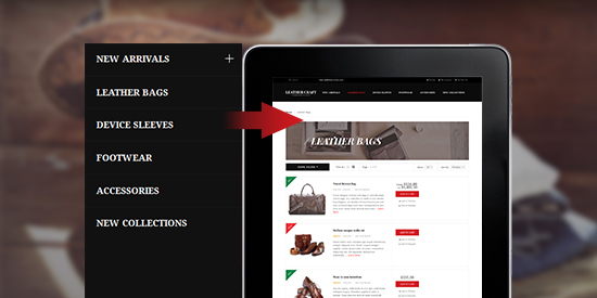 Responsive Magenot theme Leathercraft feature