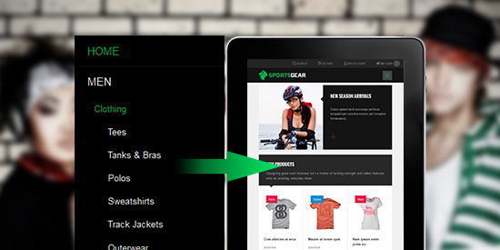 Responsive Magento theme Sportsgear feature