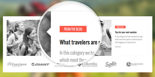 responsive Magento theme TravelGear feature