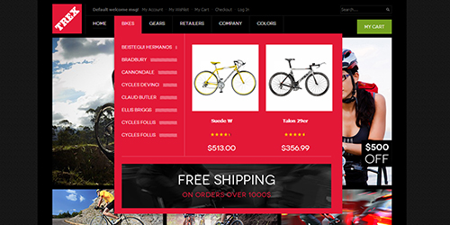Trex free responsive magento bike accessories theme ubertheme responsive magento theme trex feature pronofoot35fo Gallery