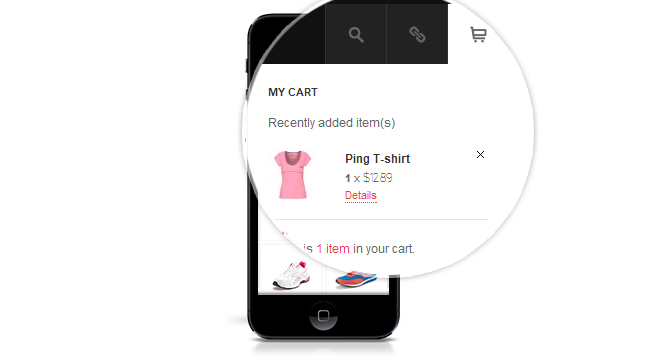 Drop-down menu for your shopping cart from your site's header in tablets & mobiles