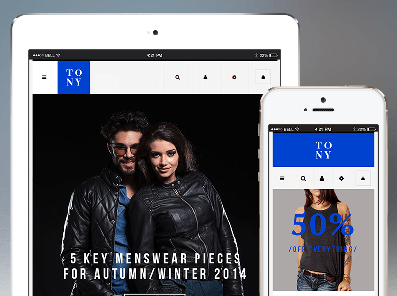 Responsive design in Tony theme