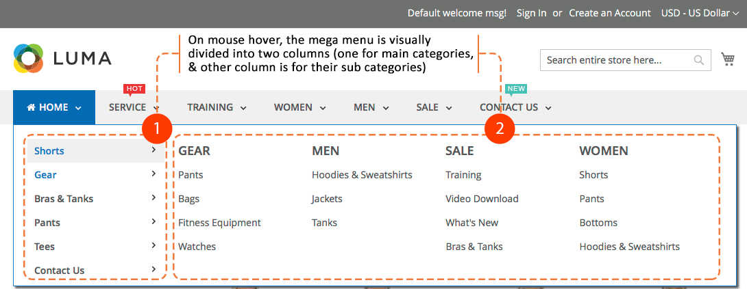 Magento 2 mega menu - Horizontal and Vertical menus