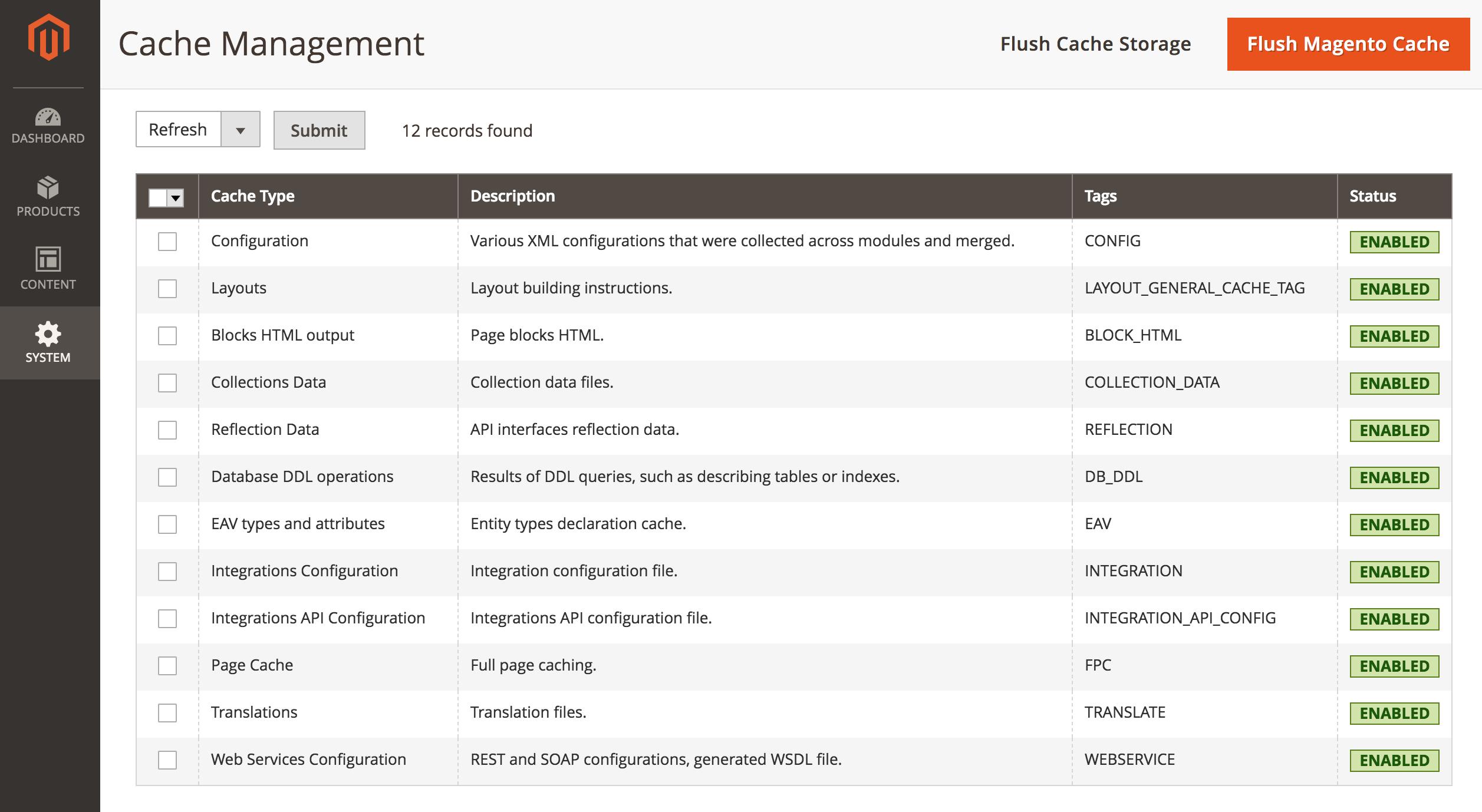 Magento 2 cache types