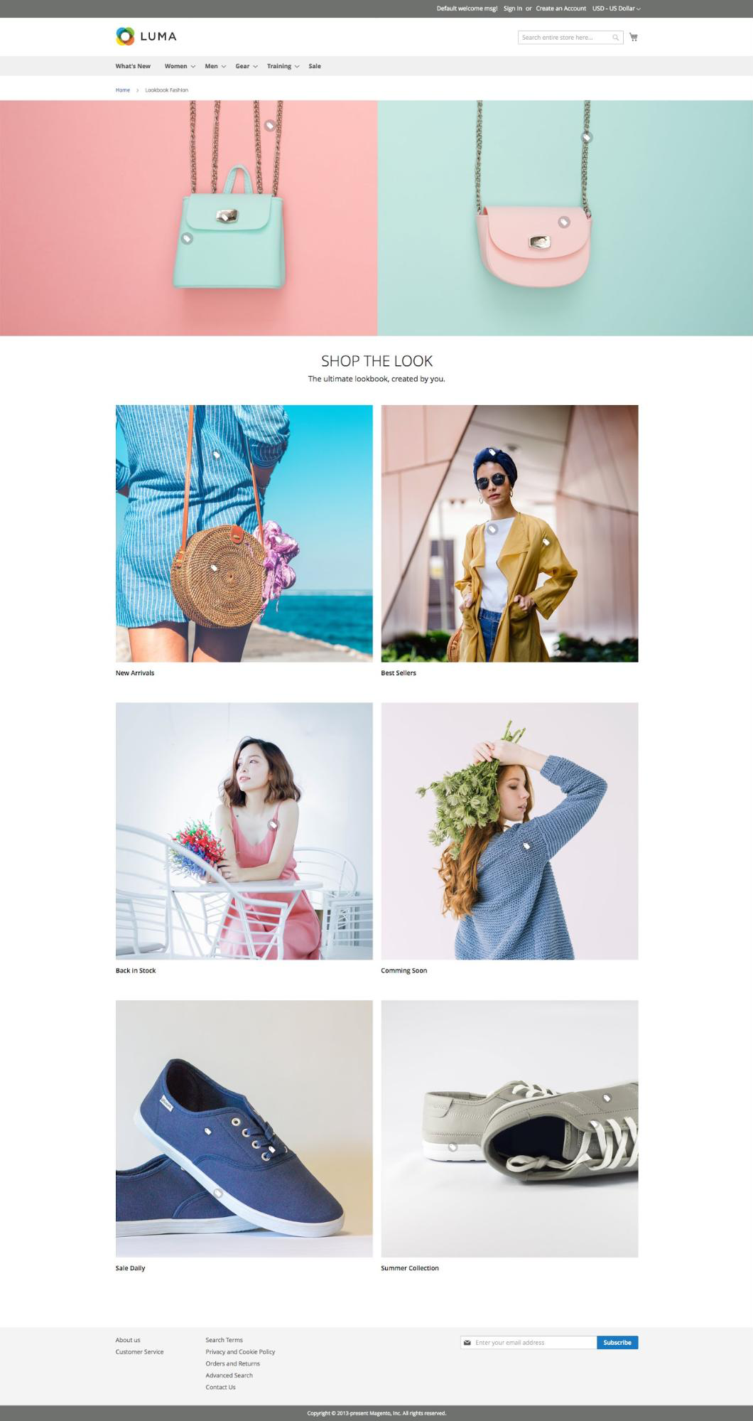 UB Content Slider Product Image Hotspot and Lookbook - Sample Fashion Lookbook page