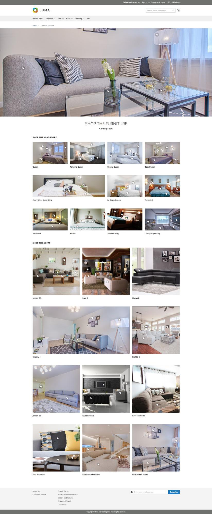 UB Content Slider Product Image Hotspot and Lookbook - Sample Furniture Lookbook page