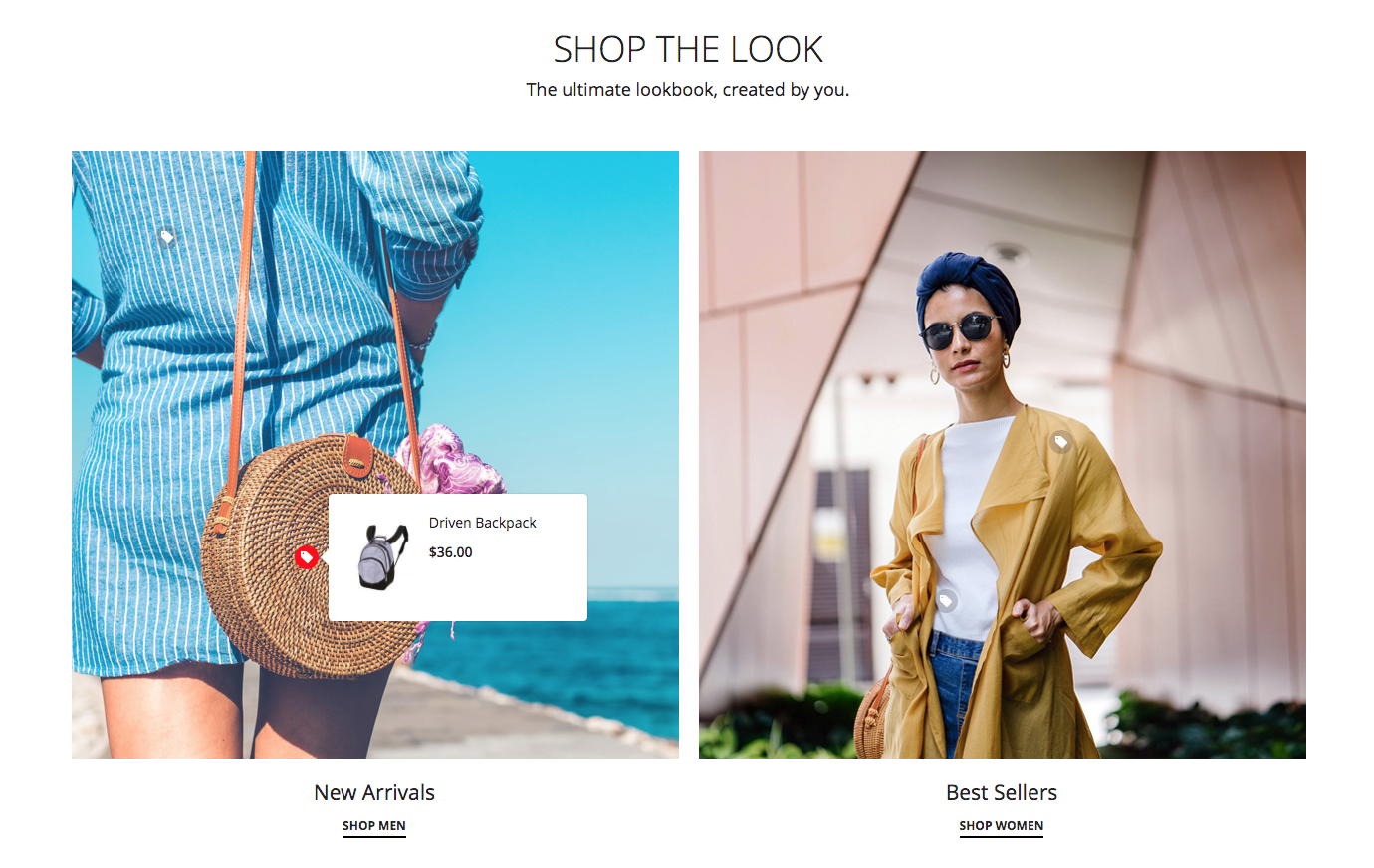 Magento 2 content slider - Lookbook with Product Image Hotspot