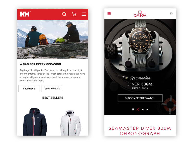 Samples of hamburger menus on two Magento 2 sites on mobile