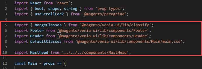 Magento PWA tutorial - Main JS file of the MastHead component