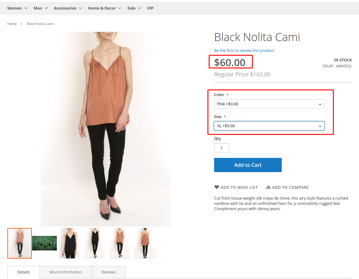 Sample 'Black Nolita Cami' product on the Magento 2 frontend