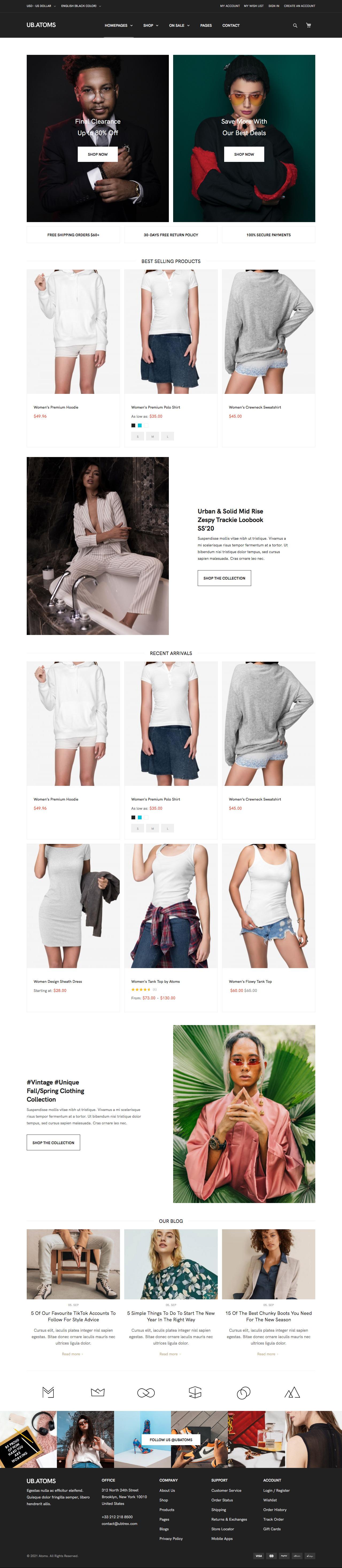 UB Atoms theme - New Fashion Homepage