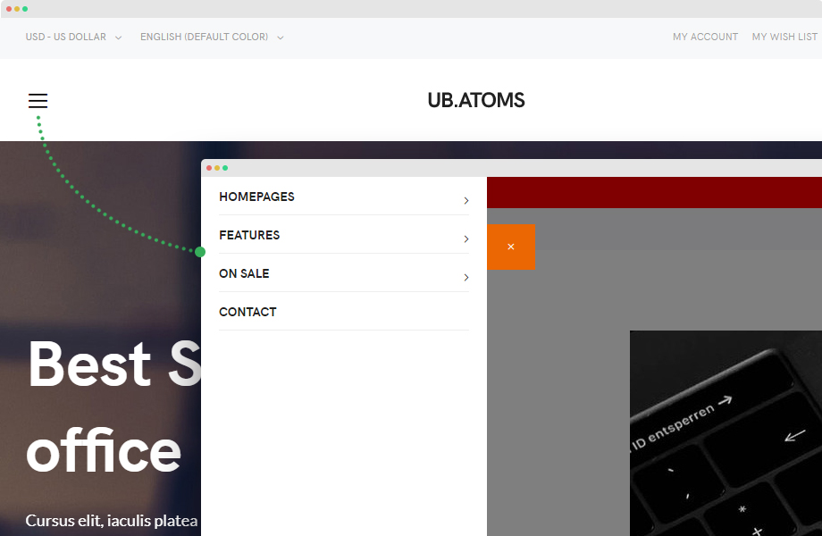 UB Atoms - Offcanvas on Desktop