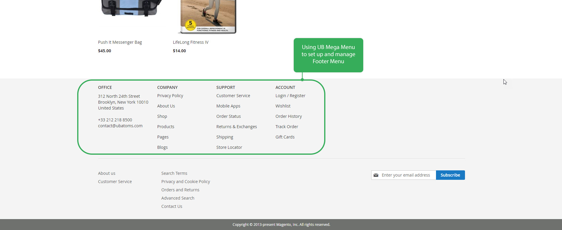 UB Mega Menu - Footer menu type