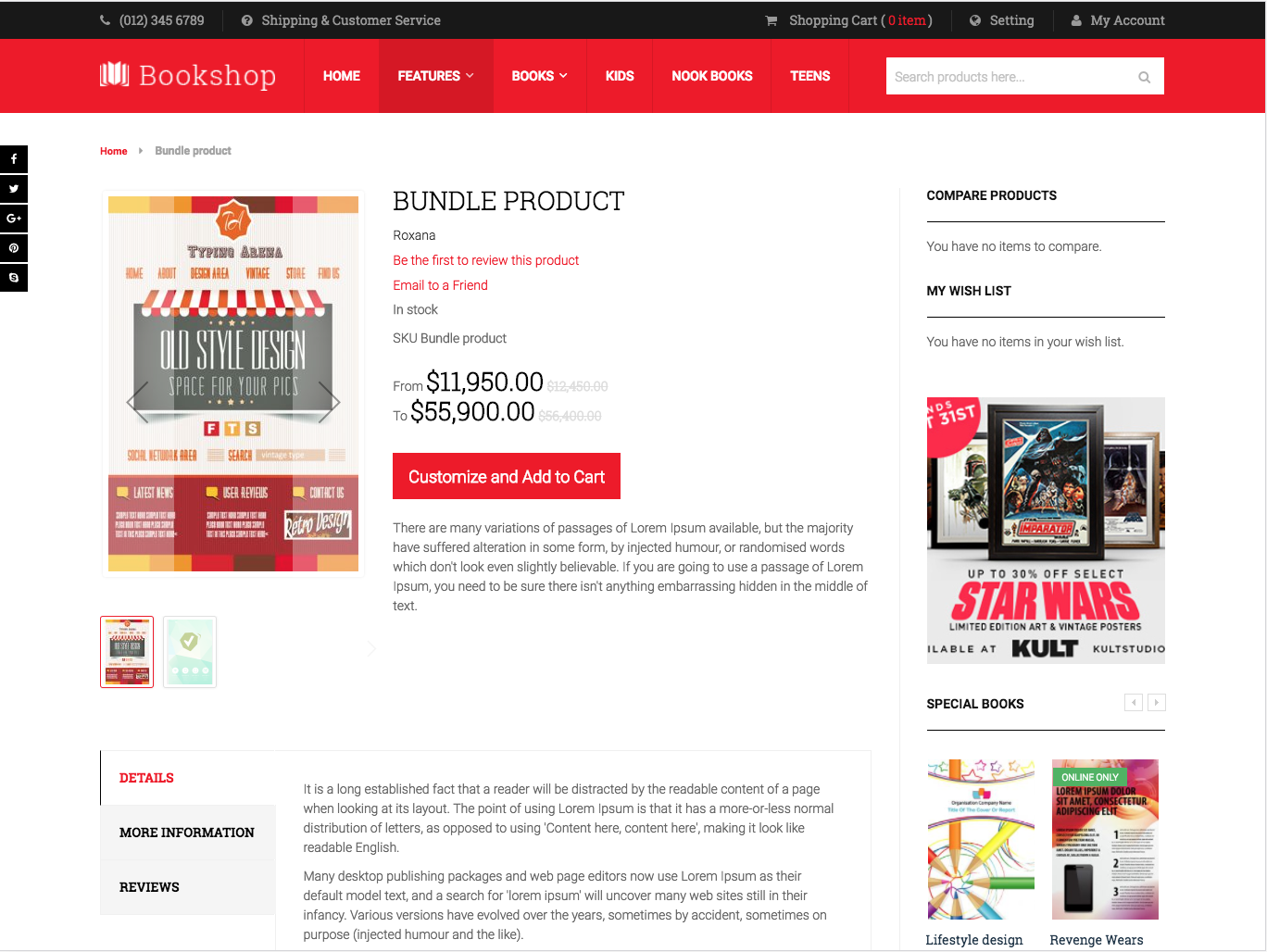 Bundle Product in UB Bookshop theme (for Magento 2)