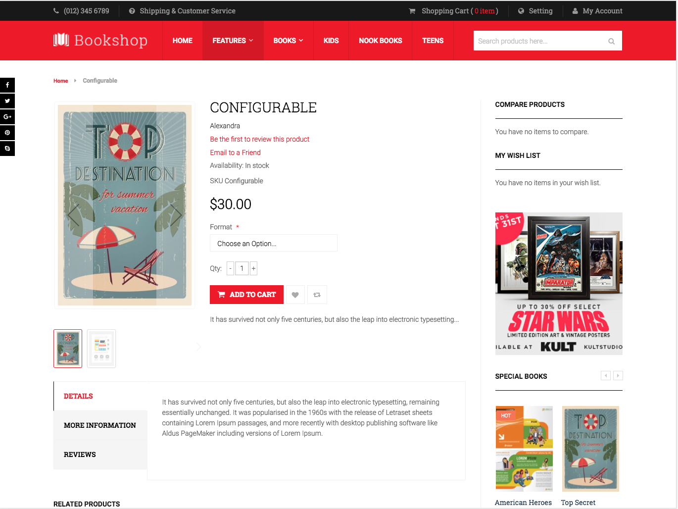 Configurable Product in UB Bookshop theme (for Magento 2)