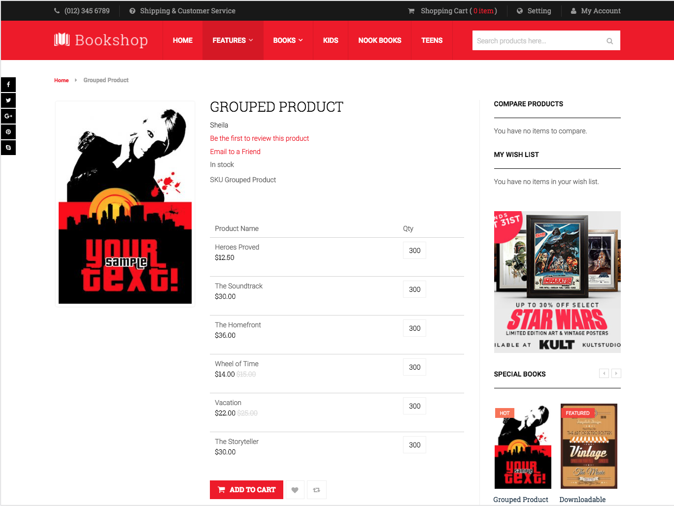 Grouped Product in UB Bookshop theme (for Magento 2)
