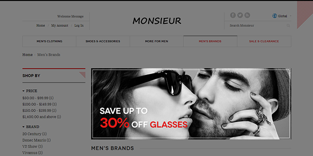 Responsive Magento theme Monsieur supports Magento extension Masshead
