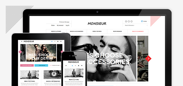 Responsive layout in Magento theme Monsieur