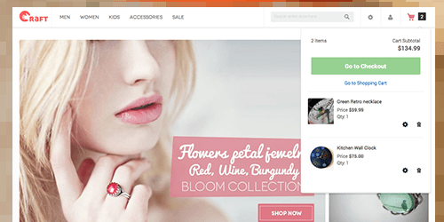 Responsive Magento theme Crafts 2.0 feature