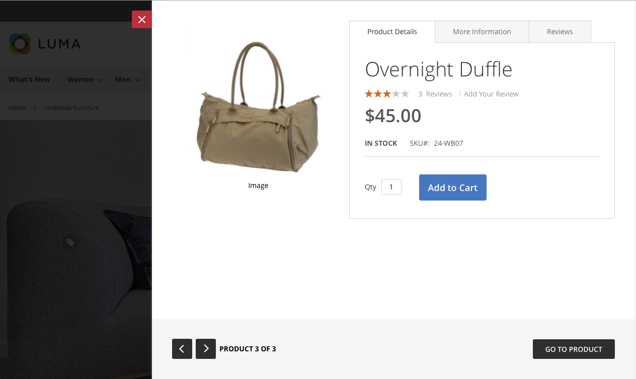 Product hotspot - Right quick view modal