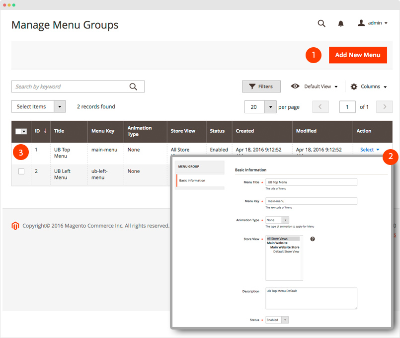 Magento 2 Mega Menu - Menu Group