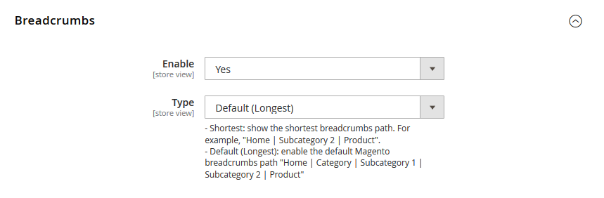 Magento 2 Rich Snippets - Breadcrumb Configurations