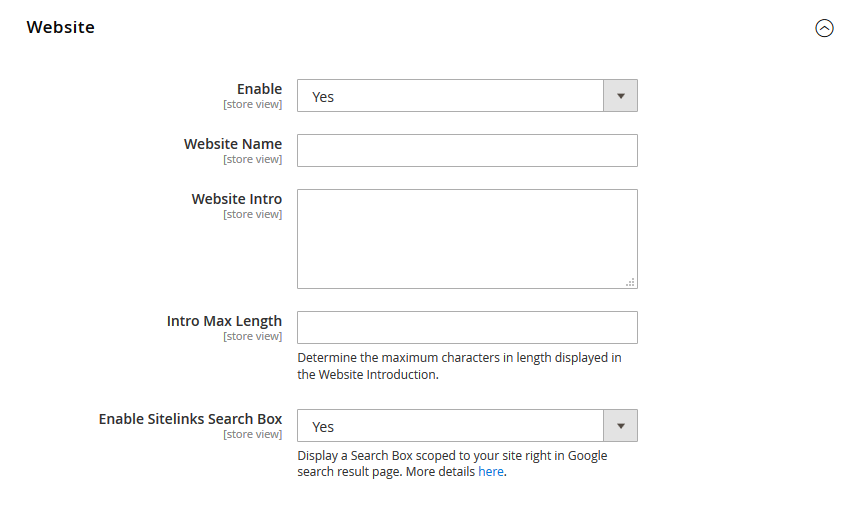 Magento 2 Rich Snippets - Website Configurations