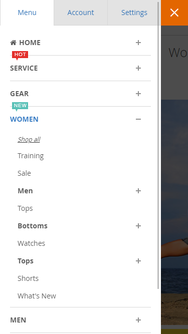 UB Mega Menu's accordion menu