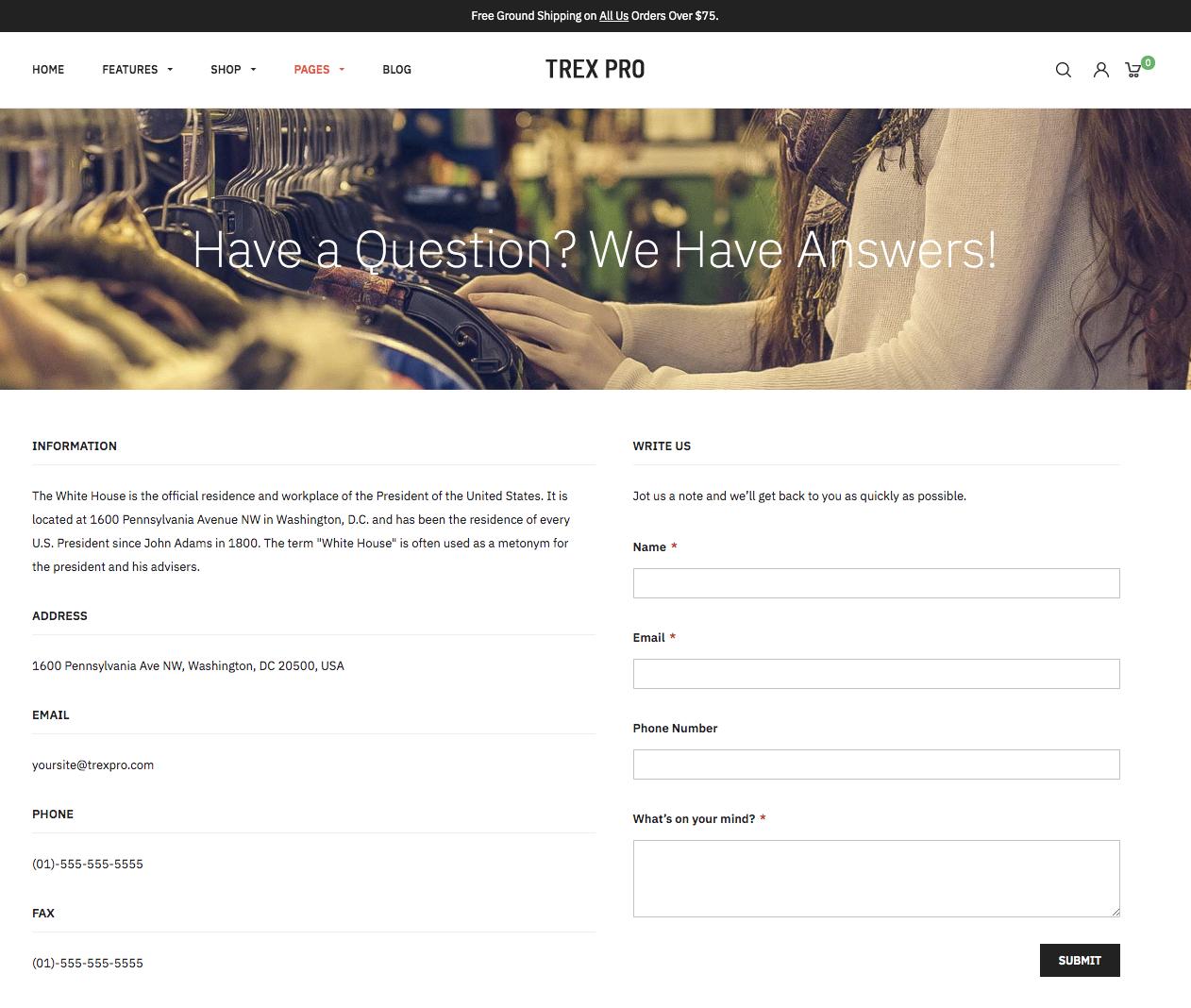 UB Theme Helper - Contact Us page