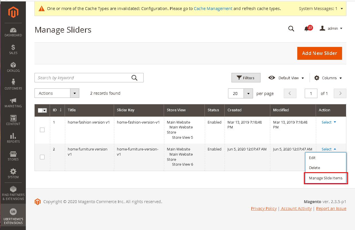 manage slide items
